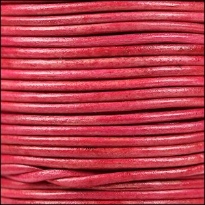 2mm round Indian leather - natural cerise - per 25m SPOOL