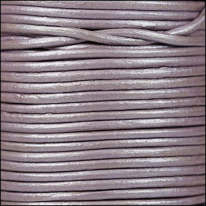 2mm round Indian leather - lilac METALLIC - per 25m SPOOL