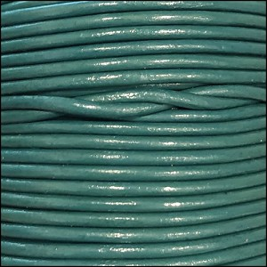 1.5mm round Indian leather - lt turquoise - per 25m SPOOL