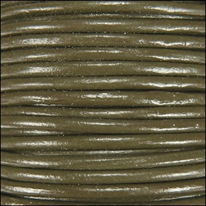 1.5mm round Indian leather - olive - per 25m SPOOL