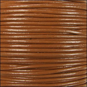 2mm round Indian leather - caramel - per 25m SPOOL