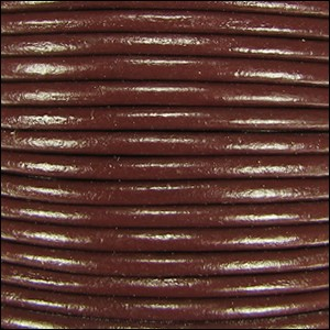 2mm round Indian leather - dark brown - per 25m SPOOL