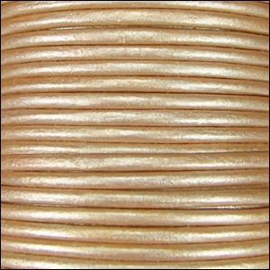 1mm round Indian leather - cream METALLIC - per 25m SPOOL