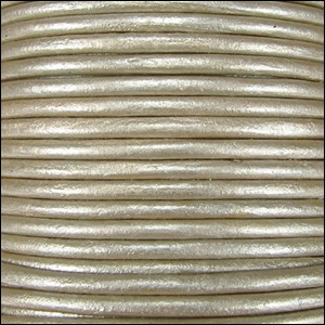 2mm round Indian leather - cement METALLIC - per 25m SPOOL