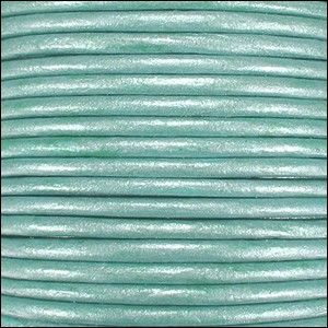 2mm round Indian leather - lt turquoise METALLIC - per 25m SPOOL