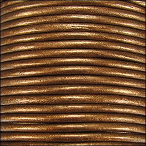 3mm round Indian leather - golden brown METALLIC - per 25m SPOOL