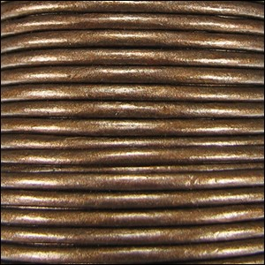 1mm round Indian leather - brown METALLIC - per 25m SPOOL