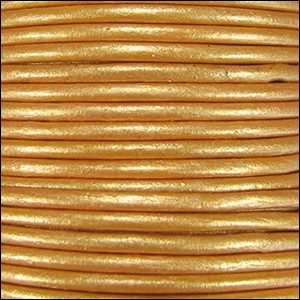 1mm round Indian leather - lt old gold METALLIC - per 25m SPOOL