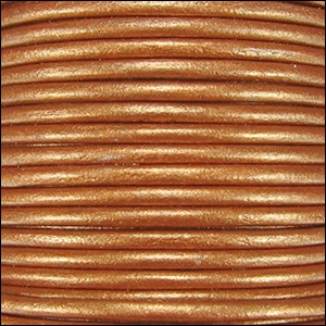 1mm round Indian leather - burnt gold METALLIC - per 25m SPOOL