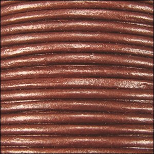 2mm round Indian leather - copper METALLIC - per 25m SPOOL