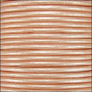 1mm round Indian leather - lt salmon METALLIC - per 25m SPOOL