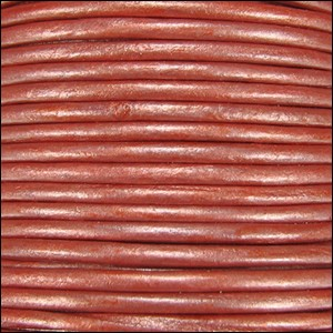 2mm round Indian leather - salmon METALLIC - per 25m SPOOL