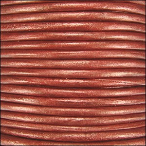 1mm round Indian leather - rust METALLIC - per 25m SPOOL