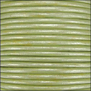 1.5mm round Indian leather - lt fern green METALLIC - per 25m SPOOL