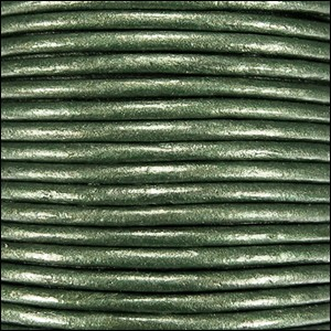 1.5mm round Indian leather - olive green METALLIC - per 25m SPOOL