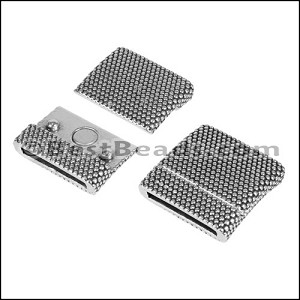 20mm flat DOTS magnetic clasp ANT SILVER - per 10 pieces