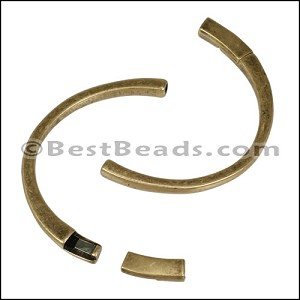 3mm flat HALF-CUFF magnetic clasp ANT BRASS - per 5 pieces