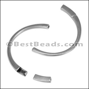 3mm flat HALF-CUFF magnetic clasp ANT SILVER - per 5 pieces