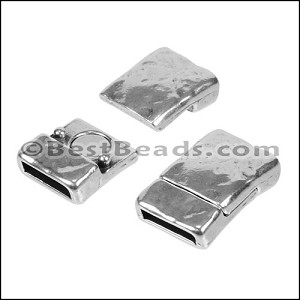10mm flat TEXTURED magnetic clasp ANT SILVER - per 10 pieces