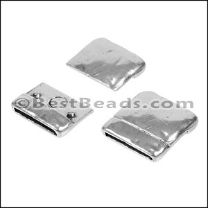 20mm flat TEXTURED magnetic clasp ANT SILVER - per 10 pieces