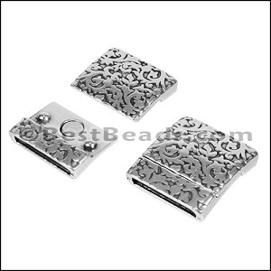 20mm flat PAISLEY FLORAL magnetic clasp ANT SILVER - per 10 pieces