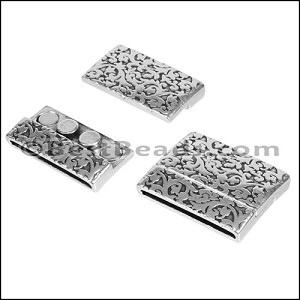 30mm flat PAISLEY FLORAL magnetic clasp ANT SILVER - per 5 pieces