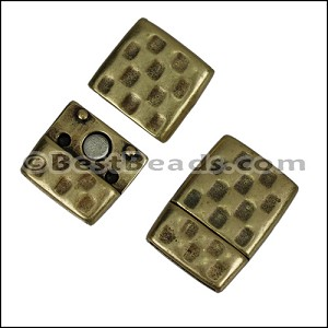 15mm flat HAMMERED magnetic clasp ANT BRASS - per 10 clasps