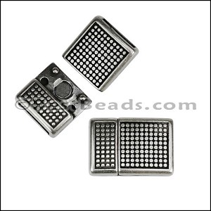 10mm flat POLKA DOT magnetic clasp ANTIQUE SILVER - per 10 clasps