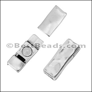 5mm flat RIPPLED magnetic clasp ANTIQUE SILVER - per 10 clasps