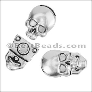 10mm flat SKULL magnetic clasp ANTIQUE SILVER - per 10 pieces