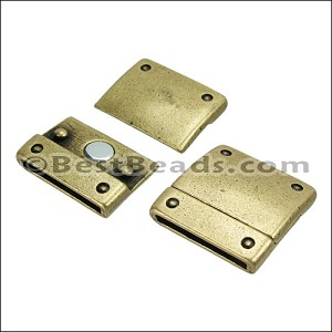 20mm flat RIVET magnetic clasp ANT BRASS - per 10 clasps
