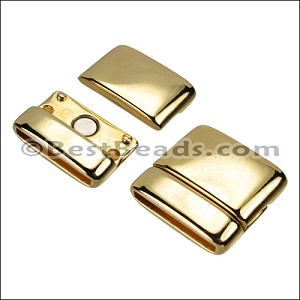 20mm flat ROUNDED magnetic clasp SHINY GOLD - per 10 clasps