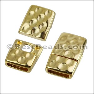 10mm flat HAMMERED magnetic clasp GOLD - per 10 clasps