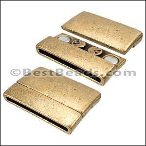30mm flat RECTANGLE magnetic clasp ANT BRASS - per 5 clasps