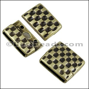 20mm flat HAMMERED magnetic clasp ANT BRASS - per 10 clasps