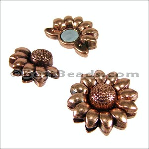 10mm flat SUNFLOWER magnetic clasp ANT COPPER - per 10 clasps