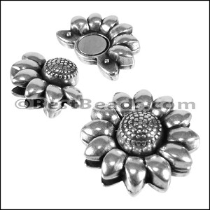 10mm flat flat SUNFLOWER magnetic clasp ANT SILVER - per 10 clasps