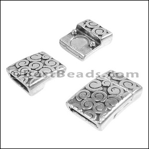 10mm flat SWIRL magnetic clasp ANT SILVER - per 10 clasps