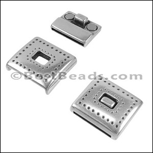 20mm flat TIN-PUNCH magnetic clasp ANT SILVER - per 5 clasps