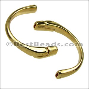 5mm flat HALF-CIRCLE magnetic clasp SHINY GOLD - per 5 clasps