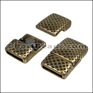10mm flat MESH PRINT magnetic clasp ANT BRASS - per 10 clasps