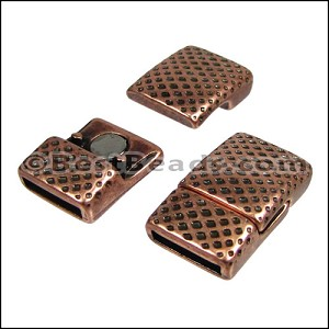 10mm flat MESH PRINT magnetic clasp ANT COPPER - per 10 clasps