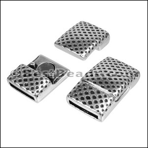 10mm flat MESH PRINT magnetic clasp ANT SILVER - per 10 clasps