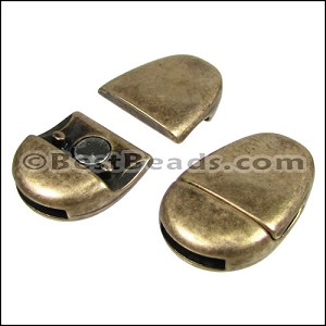 10mm flat PLAIN OVAL magnetic clasp ANT BRASS - per 10 clasps