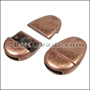 10mm flat PLAIN OVAL magnetic clasp ANT COPPER - per 10 clasps