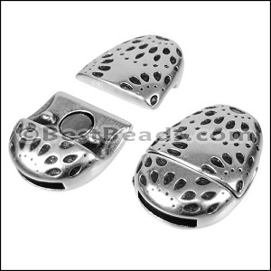 10mm flat FIREWORKS OVAL magnetic clasp ANT SILVER - per 10 clasps