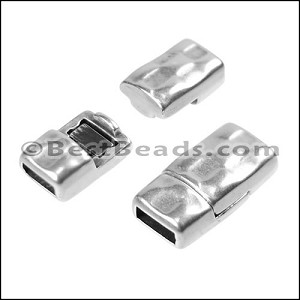 5mm flat HAMMERED magnetic clasp ANT SILVER - per 10 clasps