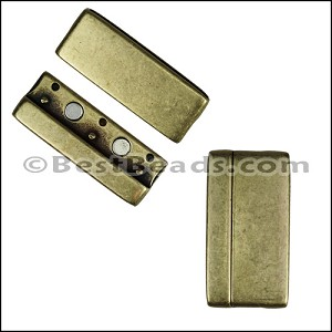 40mm flat ROUNDED magnetic clasp ANT BRASS - per 5 clasps