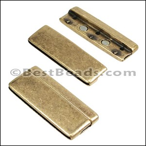 50mm flat ROUNDED magnetic clasp ANT BRASS - per 5 clasps