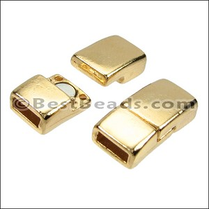 6mm flat RECTANGLE magnetic clasp GOLD - per 10 clasps